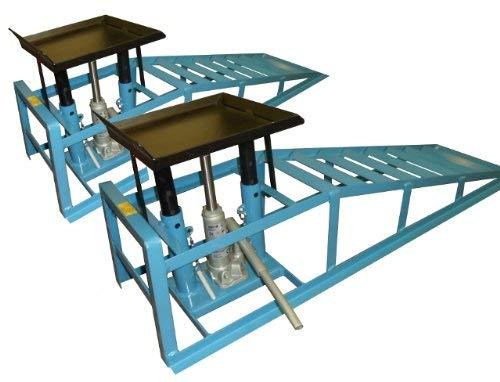 2x Auffahrrampen + 2 Hydraulik-Wagenheber Hebebühne Stahl für PKW Auto Rampe/geeignet für PKW und Kleintransporter/Reifenbreite bis 225 mm